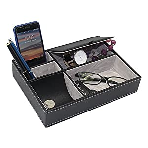 Maggift Faux Leather Valet Tray, Men's Dresser Top Organizer