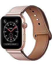 Qeei Lederen Bandje Compatible Met Apple Watch 44mm 42mm,Innovatief Verborgen Gespen Echt Lederen Horlogebanden Reservebandjes for iWatch SE Series 6 5 4,PinkSand