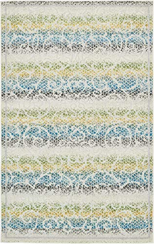 Unique Loom Outdoor Botanical Collection Carved Striped Floral Transitional Indoor and Outdoor Flatweave Cream  Area Rug (5' 0 x 8' 0) ()