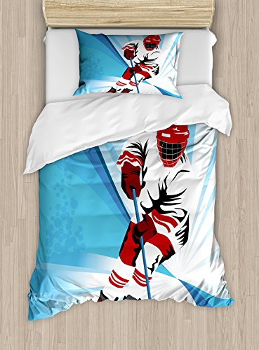 Ambesonne Hockey Twin Size Duvet Cover Set, Hockey Player Makes a Strong Shot on Goal Rival Illustration Abstract Backdrop, Decorative 2 Piece Bedding Set with 1 Pillow Sham, Blue Red White