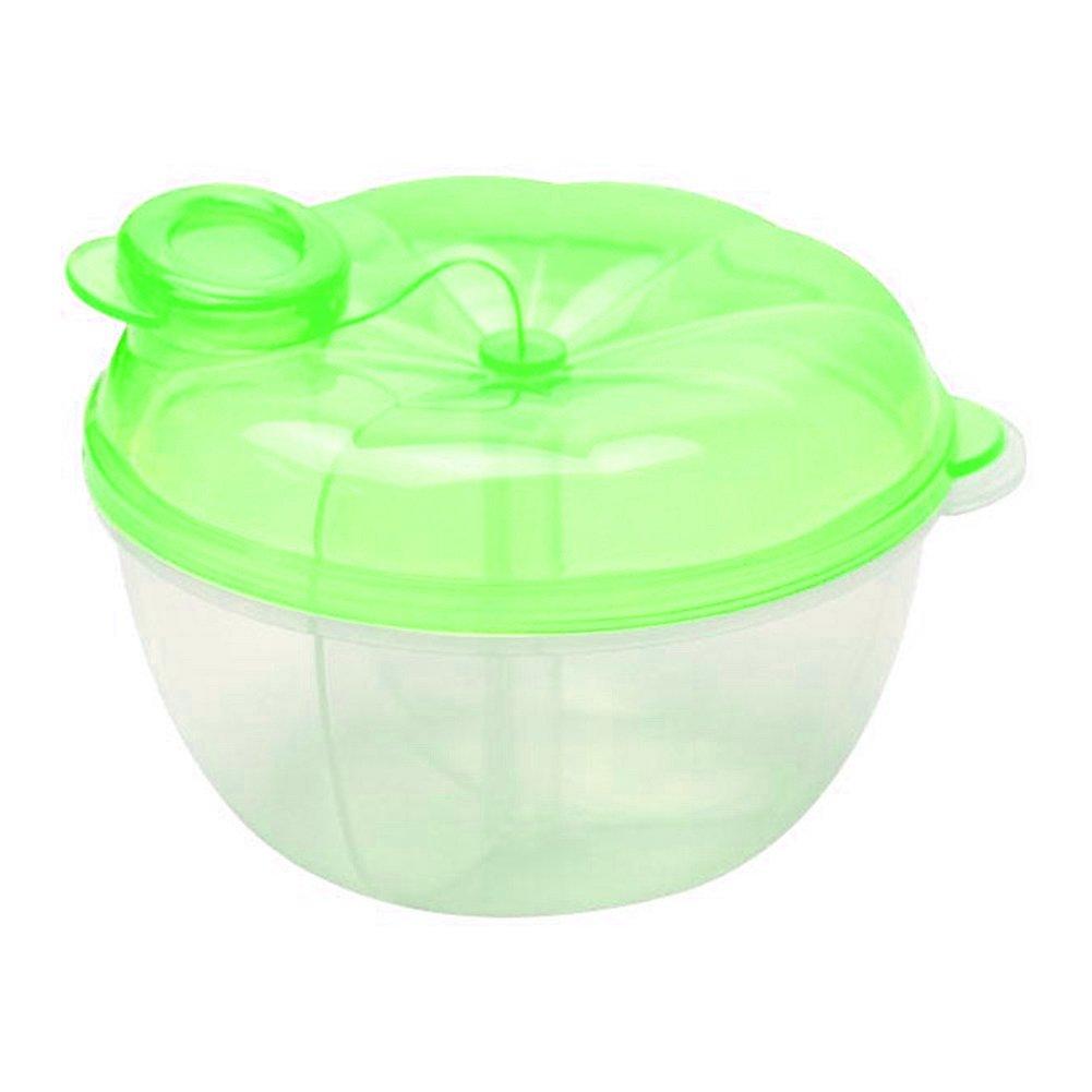 3 Interlayer Dispenser Food Storage Snack Container Baby Feeding Travel Milk Powder Box Food Bottle Container size Pumpkin (Green)