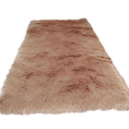 Home Decor Rectangle Rugs Faux Fur Sheepskin Area Rug Shaggy Carpet Fluffy Rug for Baby Bedroom,2ftx3ft,Khaki by Elhouse