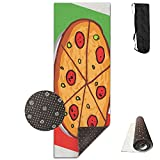 QNKUqz The Pizza Cartoon Of The Italy Flag Deluxe Yoga Mat Aerobic Exercise Pilates