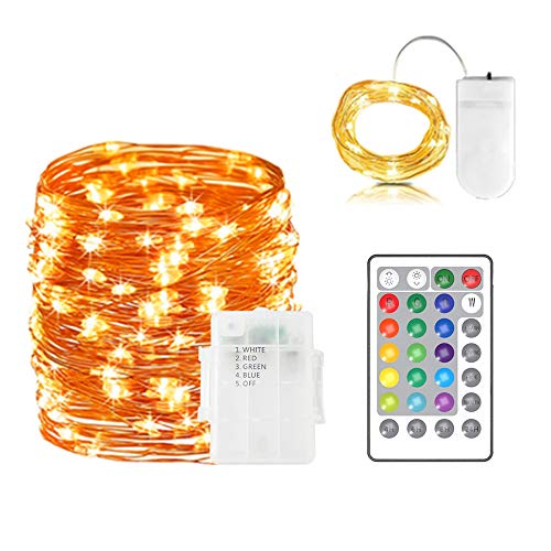 Off 16' Strand - MeihuaTu String Lights,LED Fairy Lights Battery Operated with Remote Control Waterproof Outdoor Decorative 50LED 16ft Copper Wire Lights for Bedroom,Patio,Garden,Party,Christmas,Wedding