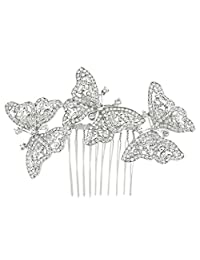 Ever Faith Silver-Tone Austrian Crystal Bridal 3 Butterfly Hair Comb Clear N04496-1