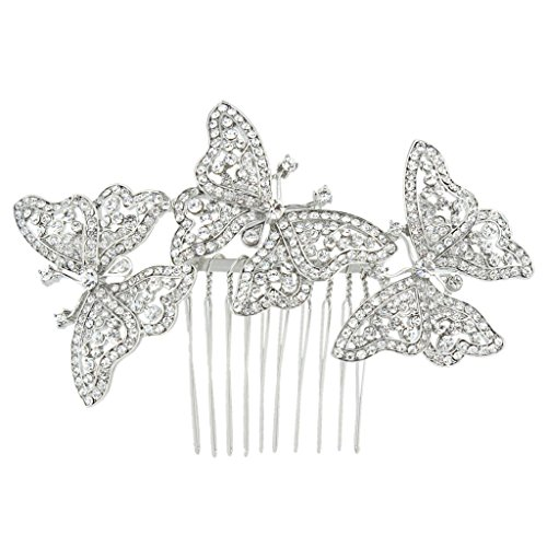 - EVER FAITH Austrian Crystal Bridal 3 Butterfly Insect Animal Hair Comb Clear Silver-Tone