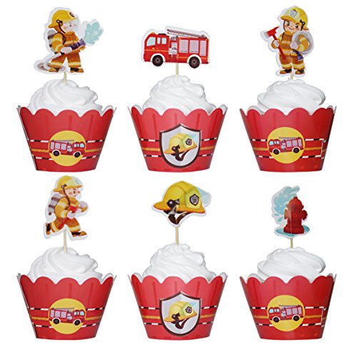 BeBeFun Adjustable Cupcake Wrappers and Decoration Toppers FireFighter Fireman Fire Truck Heroes Theme Cake Cupcake Decorating Accessories 24pcs Wrappers & 24pcs Toppers in Pack.