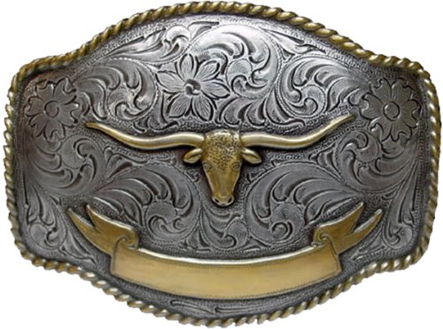 (Longhorn Steer Head Western Belt Buckle with Sterling Silver Finish (Gold longhorn(part round and part square)))