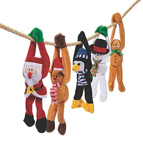 Fun Express - Holiday Plush Long Arm W/Velcro Arms for Christmas - Toys - Plush - Long Arm Plush - Christmas - 12 Pieces ()