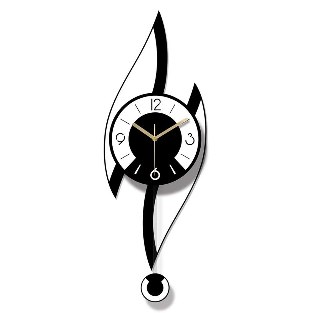 HYH ファッションクリエイティブアクリル白黒カラー寝室リビングルーム振り子時計/時計/壁掛け時計 美しい人生   B07R9RLGYT