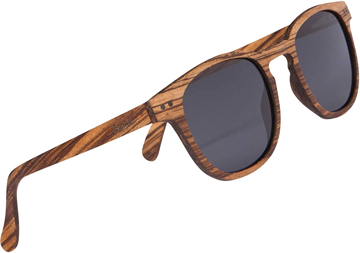 WOODIES Polarized Full Zebra Wood Foster Style Sunglasses for Men and Women | Black Polarized Lenses and Real Wooden Frame | 100% UVA/UVB Ray Protection