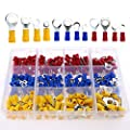 Glarks 360pcs 22-16 / 16-14 / 12-10 Gauge Mixed Quick Disconnect Electrical Insulated M4 / 5 / 6 / 8 Ring Crimp Terminals Connectors Assortment Kit