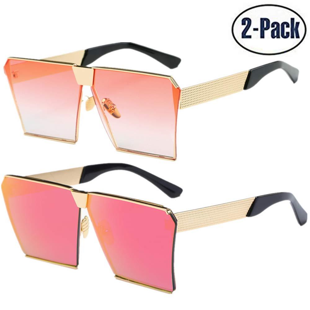 JOJO'S SECRET Oversized Square Sunglasses Metal Frame Flat Top Sunglasses JS009 (Gold/Transparent Red+Gold/Pink, 2.48)
