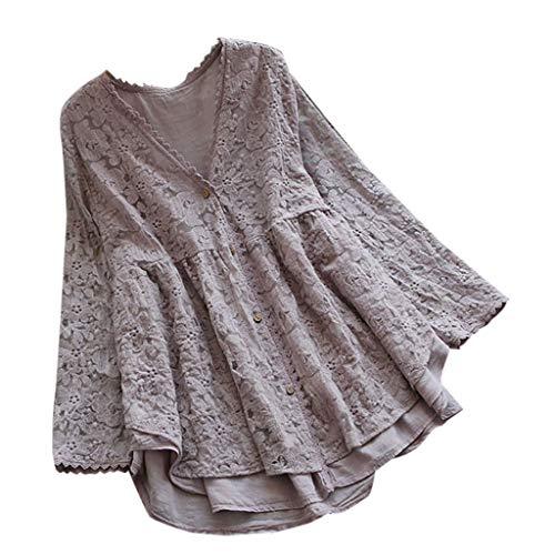 Dressin Womens T Shirt,Women Girls Vintage Embroidery Casual Short/Long Sleeve Button Linen Top T-Shirt Blouse ()