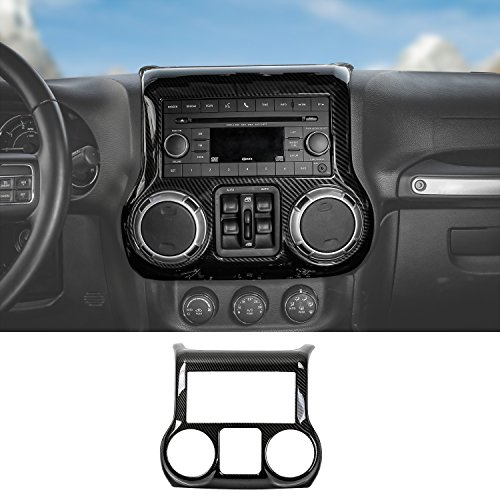 RT-TCZ Inner Accessories Center Console Dashboard Control Panel Cover Trim For Jeep Wrangler JK & Unlimited 2011-2017(Carbon Fiber)
