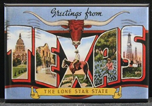 Greetings From Texas Vintage Postcard Refrigerator Magnet.