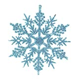 Cyhulu Glitter Christmas Snowflake Ornaments(Pack of 6Pcs), Hot Xmas Tree Snowflake Craft Party Home Hanging Decoration (Light blue, One size)