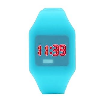Relojes de Moda de diseño único para niños para Mujer para Mujer Reloj LED de Silicona