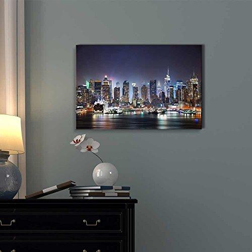 New York City Manhattan Skyline Panorama at Night Over Hudson