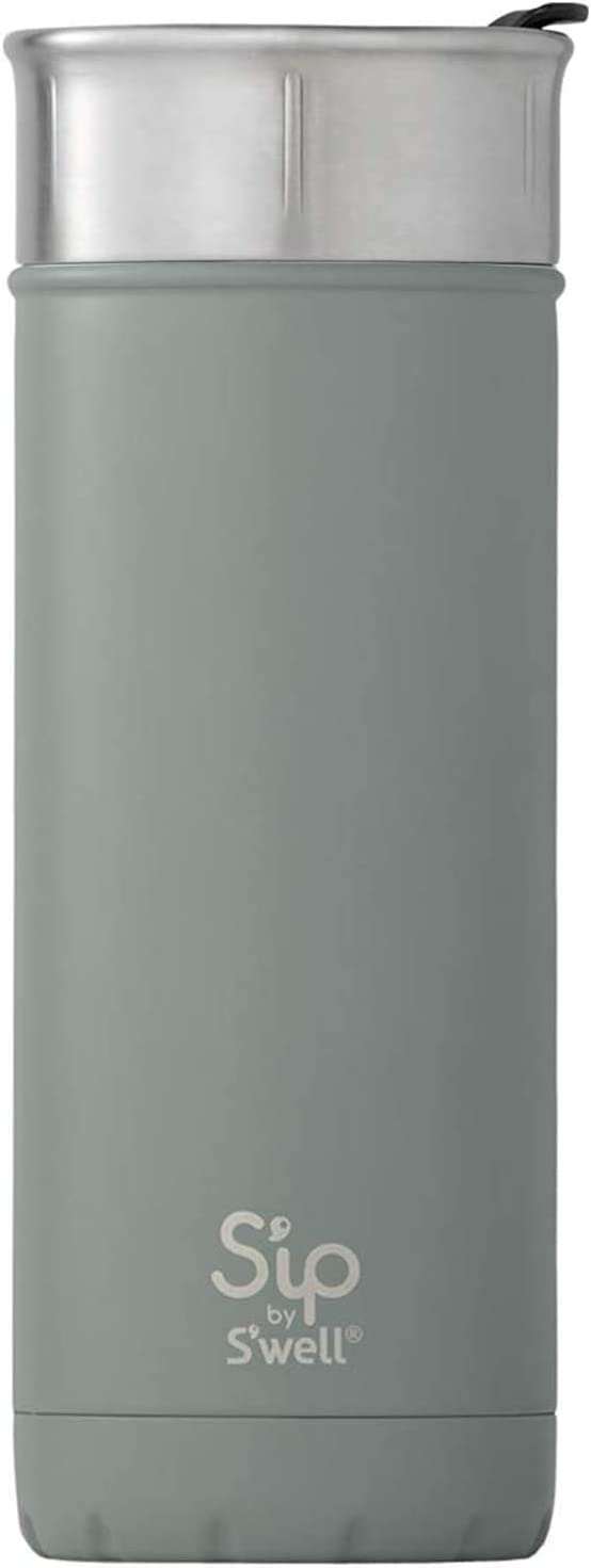 S'ip by S'well Stainless Steel Travel Mug Double-Layered Vacuum-Insulated Food and Drinks Cold and Hot - with No Condensation - BPA Free Water Bottle, 16oz, Clean Slate