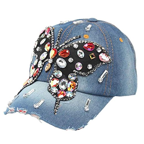[Iuhan Butterfly Hip-Hop Baseball Cap Full Diamond Flat Snapback Hat (A)] (1920s Beach Costume)