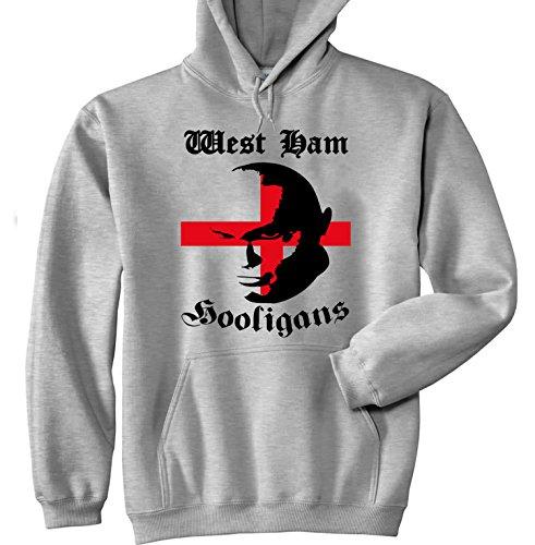 teesquare1st Men's WEST HAM Hooligans Grey Hoodie Size XLarge (West Ham Hoodie)