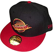 New Era NHL Retro Logo Vancouver Canucks 2-Tone Black/Red Fitted Hat Size 7