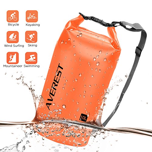 Averest Waterproof Dry Bags, 10L Lightweight Durable Heavy-Duty Compression Sack Keep Gear Dry in Water One Hours for Kayaking, Boating, Swimming, Camping, Hiking, Fishing, Camping