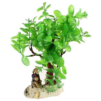 Amazon.com : eDealMax cerámica Fishman Decoración de acuario artificiales de plástico de hierba, DE 9 pulgadas, Verde : Pet Supplies