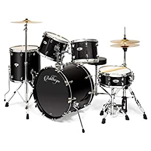 ashthorpe 5 piece full size adult drum set with remo heads premium brass cymbals. Black Bedroom Furniture Sets. Home Design Ideas