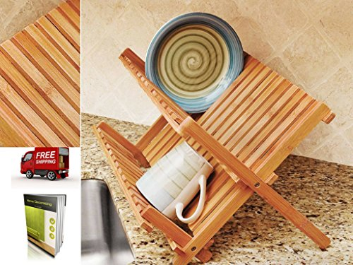 Lightweight Folding Dish Rack With One Cup Rack Made of Bamb