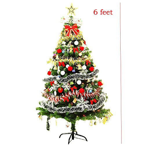 Pre-lit Decorated Christmas tree 6' ft/7' ft/8' ft Battery Operated - Decorated with Ornaments, Snowflakes, Cones, Stars, Gift Boxes etc. (6 ft) Pre Lit Cone