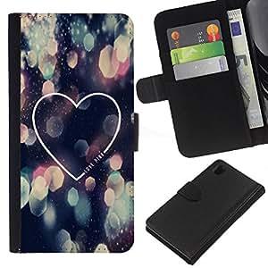 iBinBang / Flip Funda de Cuero Case Cover - Love City Lights Night Heart Minimalist - Sony Xperia Z1 L39H