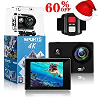 4K Action Camera,Wewdigi HE9000 4K Sports Action Camera Ultra HD 30m Waterproof WiFi 16MP DV Camcorder 170 Degree Wide 2 inch LCD Screen/ Remote Control/ 2 Rechargeable Batteries