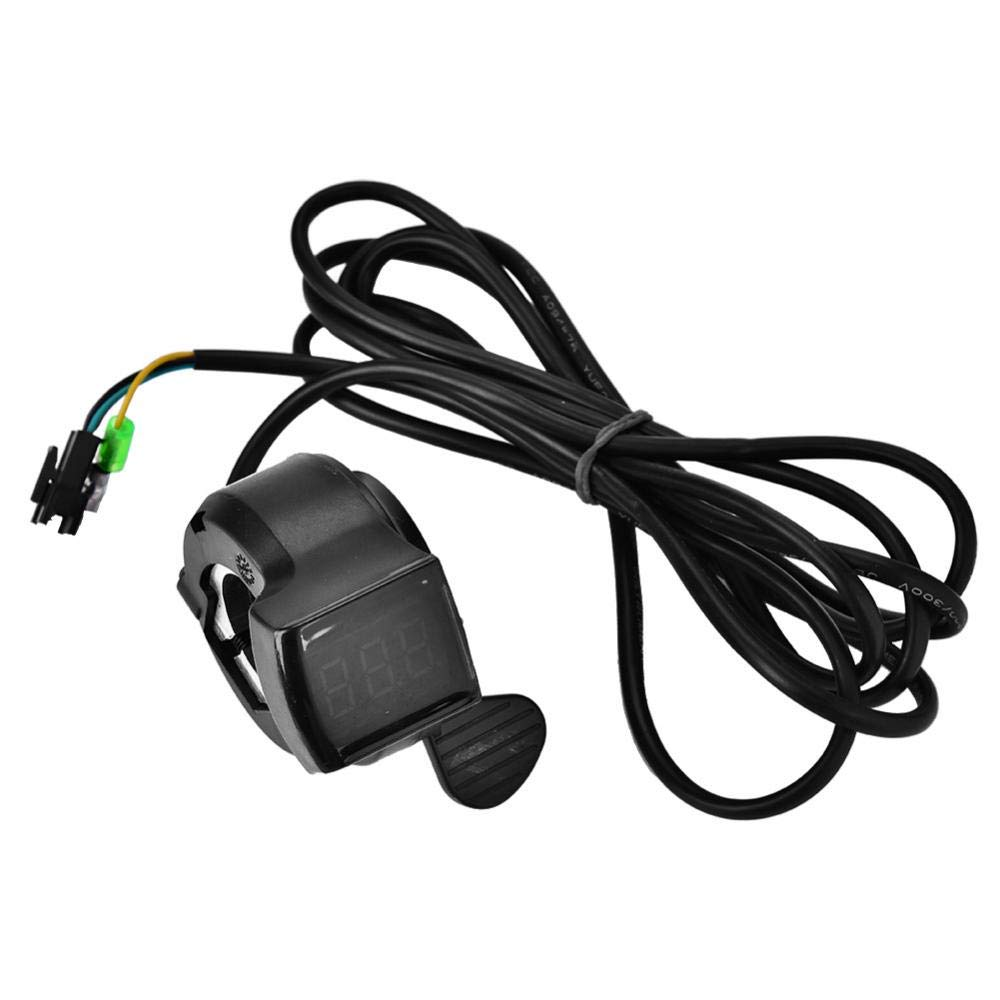 Alomejor 12V - 99V Ebike Scooter Thumb Throttle with LCD Battery Voltage Display Accessory