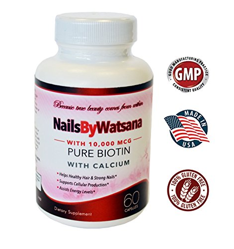 Pure Biotin - 10,000mcg Hair and Nail Growth, Cellular Production, Assists Energy Levels
