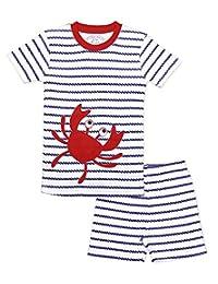 Sara's Prints boys Boys Fitted 2 Piece Short Pajama Set