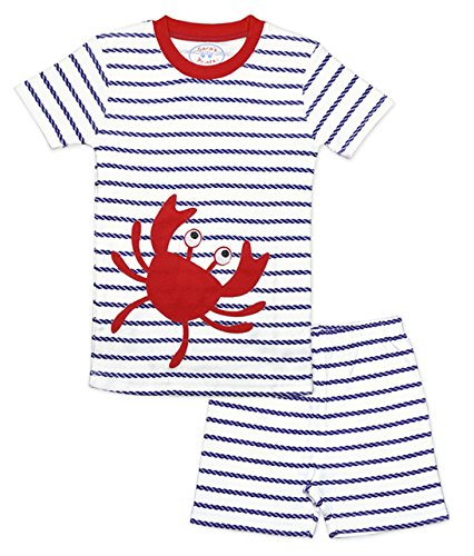 Pjs Short Fitted (Sara's Prints Boys' Little Soft All Cotton Fitted Short Pajama Set, Nrpc/Nautical Rope Crab, 4)