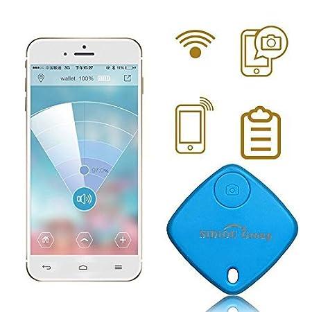 Sidiou Group Mini Bluetooth Tracker Borsa Bambino allarme Portafoglio Anti-perso inseguitore chiave Pet Smart Finder mini GPS Locator allarme per Android IOS (blu)