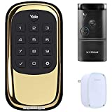 Yale Locks B1L Lock Push Button with Z-Wave, Polished Brass (YRD110ZW605) Smart Front Door Bundle with Xtreme WiFi Smart HD Video Doorbell Camera and Door Chime