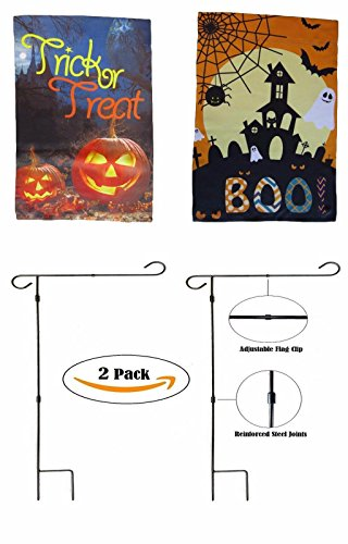 (ALBATROS 12 inch x 18 inch Happy Halloween #9 Sleeved with Garden Stand Flag for Home and Parades, Official Party, All Weather Indoors)