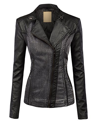 WJC1014 Womens Faux Leather Biker Denim Jacket XS BLACK (Jean Biker Jacket)