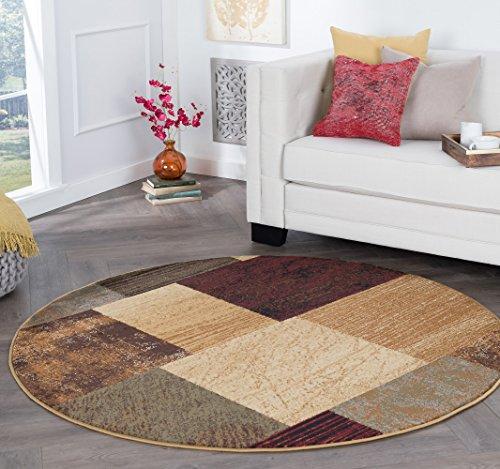 Augusta Contemporary Geometric Multi-Color Round Area Rug, 8' Round