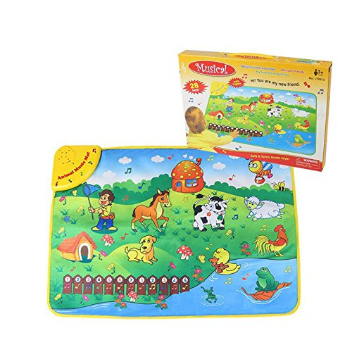 Lanlan 1PCS Baby Music Mat Kids Kick Touch Musical Dance Play Mat With Light Pianos Keyboards 22 Kinds Functions Green Material Washable Scrub Amusements Basic Skills Development Toys(Animal)
