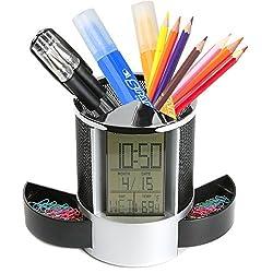 Sorive Multifunctional Pen Holder Pencil Container Digital LED Desk Clock Mesh with Calendar Timer Alarm Clock Thermometer 2 Small Drawer SRI01825(Black)
