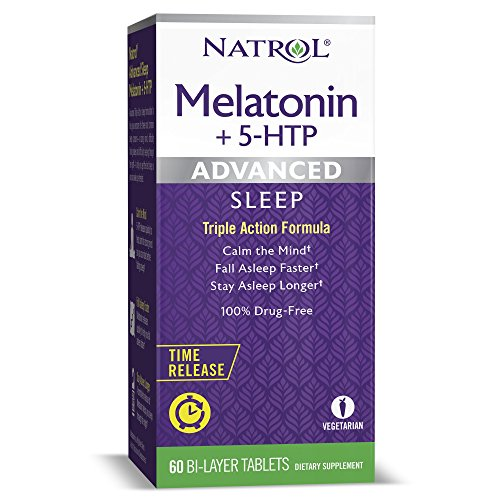 Natrol Melatonin + 5 HTP Advanced Sleep Time Release Bi-Layer Tablets, Triple-Action Formula, Calm the Mind, Helps You Fall Asleep Faster, Stay Asleep Longer, 100% Drug-Free, 10mg, 60 -