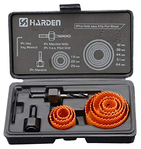 Harden 11 Pieces Professional Hole Saw Bit Cutter Kit For Wood (19-64mm) High Carbon Steel, Teeth Constructed from Hardened Heat, Best tool for Carpenter – 610546 Price & Reviews