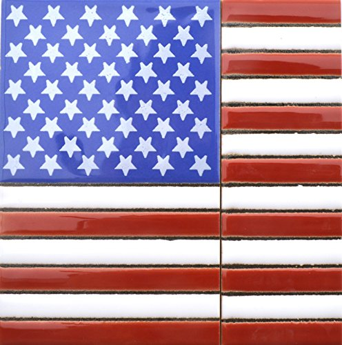 - House numbers. Handpainted polichrome ceramic tiles USA FLAG. Handpainted using dry rope technique, perfect to create signs,addresses and names. Design USA MEDIANO 4,29