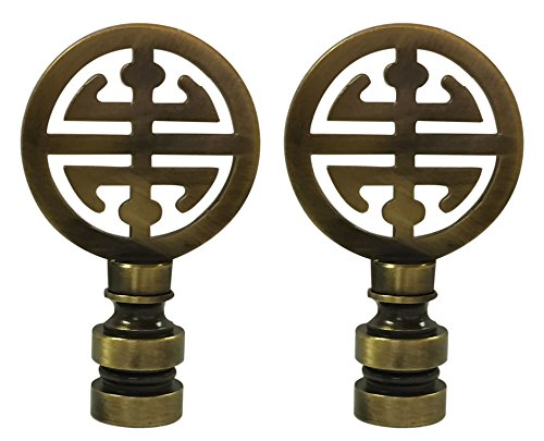 Royal Designs Oriental Happiness Symbol Lamp Finial for Lamp Shade-Antique Brass Set of 2 by Royal Designs, Inc