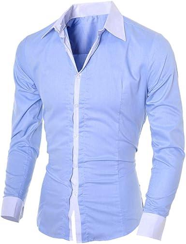 Hombre Camisa Manga Larga Slim Fit Blusa Superior Ocio Color Sólido La Moda Solapa Retro Henley Camisas 2019 Nuevo BáSica Camiseta riou: Amazon.es: Ropa y accesorios
